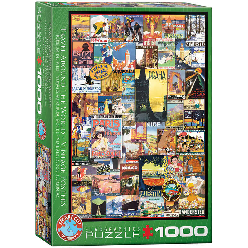 Eurographics Travel Around the World Vintage Posters 1000-Piece Puzzle - ODDO igračke