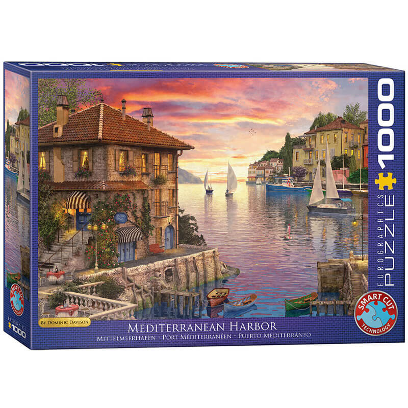 Eurographics Mediterranean Harbor by Dominic Davison 1000-Piece Puzzle - ODDO igračke