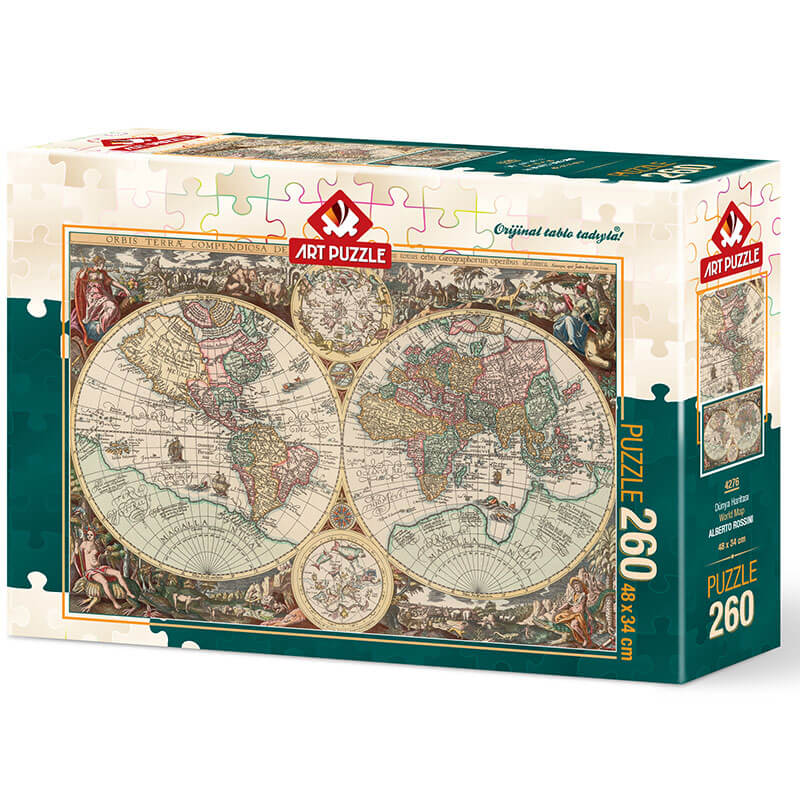 Art puzzle World Map - ALBERTO ROSSINI  260 pcs - ODDO igračke