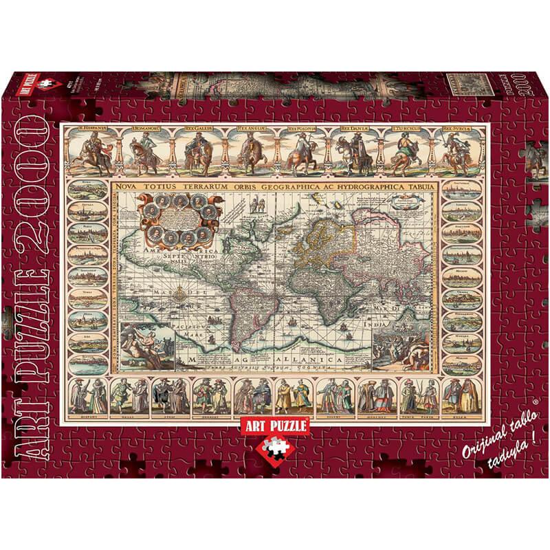 Art puzzle ANCIENT WORLD MAP 2000 pcs - ODDO igračke