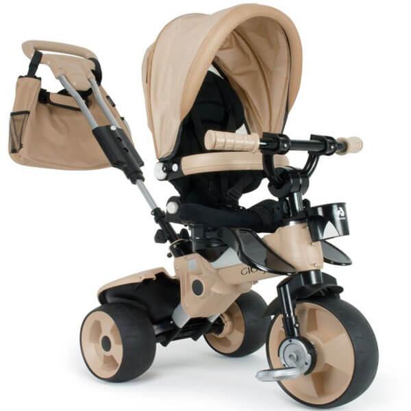 Tricikl sa tendom i ručkom rotacioni City max crem model 423 - ODDO igračke