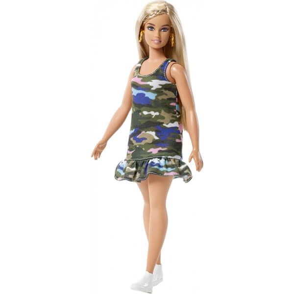 Barbie Lutka Fashionistas Curvy Blonde Camo Dress FJF54 - ODDO igračke