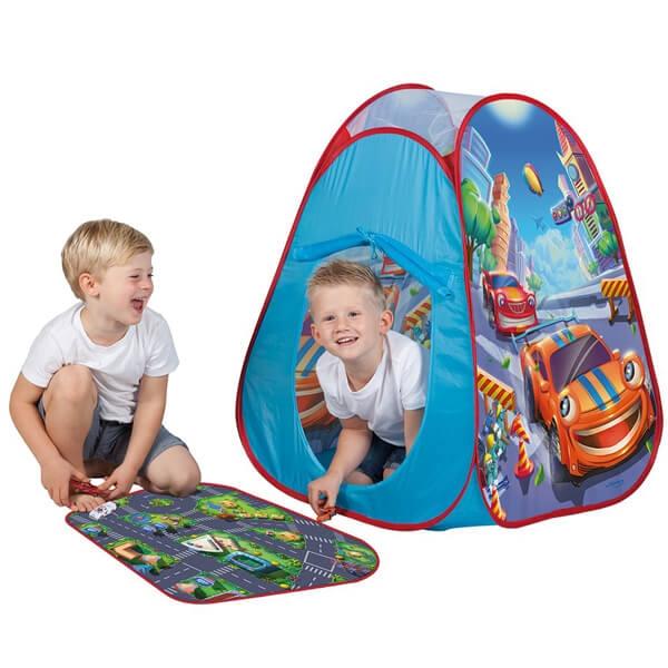 Šator pop up sa 4 autića i podlogom za igru(70x55cm) 90x75x75cm John 77025 - ODDO igračke