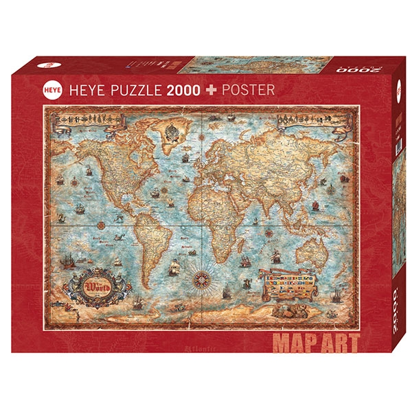 Heye puzzle 2000 pcs Map Art The World 29845 - ODDO igračke