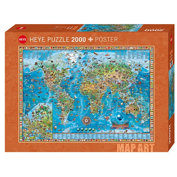 Heye puzzle 2000 pcs Map Art Amazing World 29846 - ODDO igračke