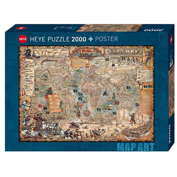 Heyepuzzle 2000 pcs Map Art Rajko Zigic Pirate World 29847 - ODDO igračke