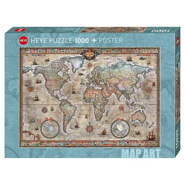 Heyepuzzle 1000 pcs Map Art Retro World 29871 - ODDO igračke