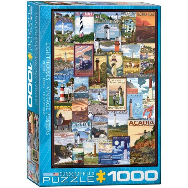 Eurographics Lighthouses Vintage Posters 1000-Piece Puzzle - ODDO igračke