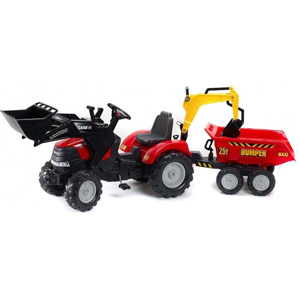Traktor Falk na pedale Rovokopač i Bager Case IH Puma sa prikolicom 995W - ODDO igračke