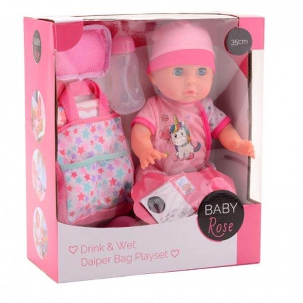 Baby Rose Lutka beba pije i piški 35cm sa torbom za prepovijanje 27633 - ODDO igračke
