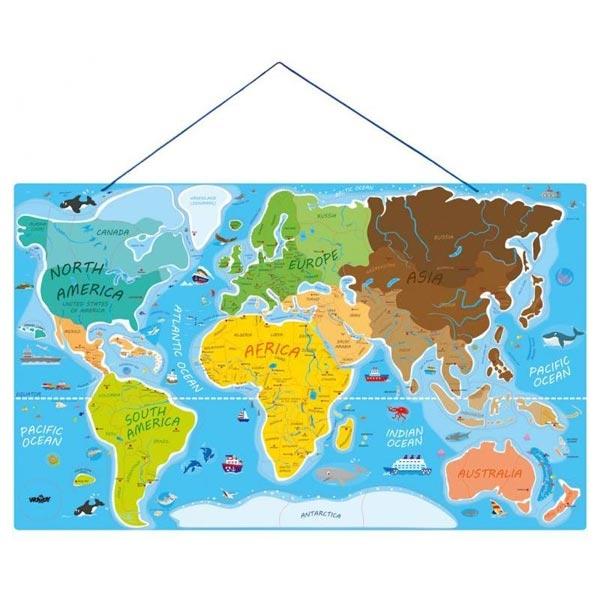 Woody Drvena Magnetna Mapa Sveta 91290 - ODDO igračke
