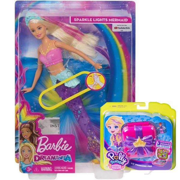 Barbie Lutka Dreamtopia morska sirena GFL82/GGX19 + Polly Pocket set iznenađenja GDK76 - ODDO igračke