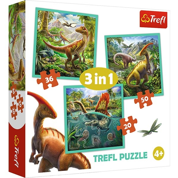 Trefl puzzle World of Dinosaur 3 in 1 34837 - ODDO igračke