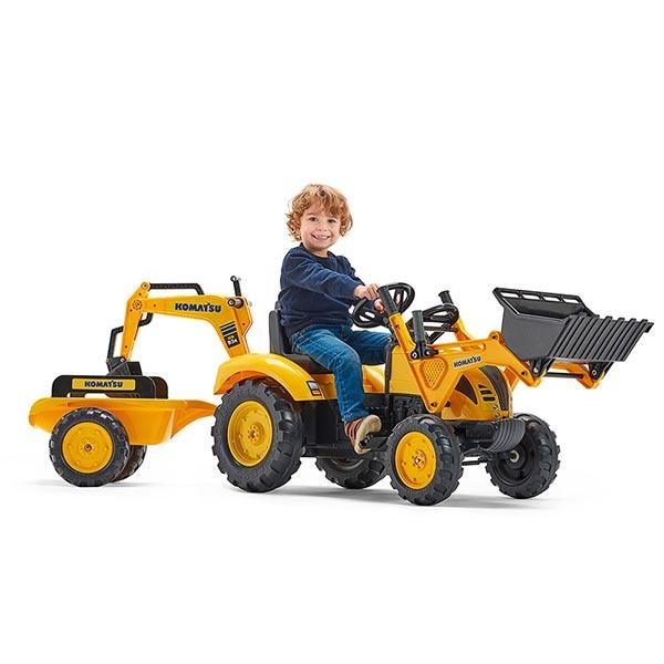 Traktor Falk na pedale Bager Rovokopač Komatsu sa prikolicom 2086y - ODDO igračke