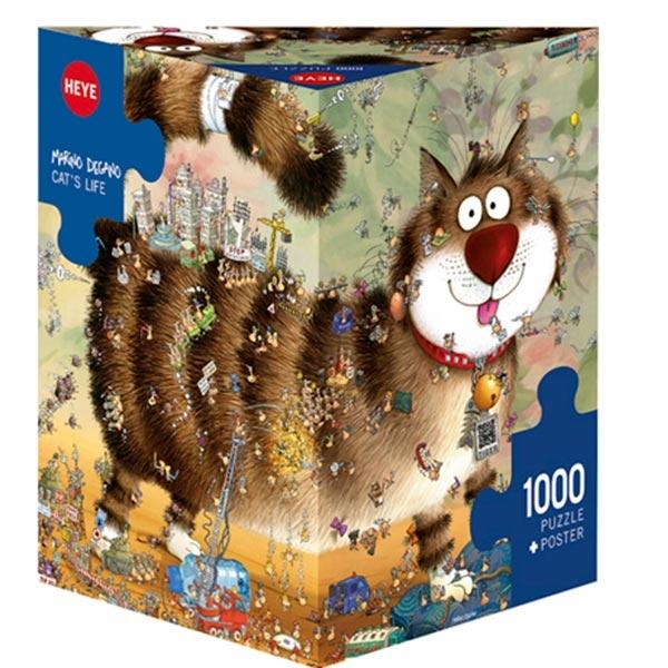 Heye puzzle 1000 pcs Triangle Degano Cats Life 29569 - ODDO igračke