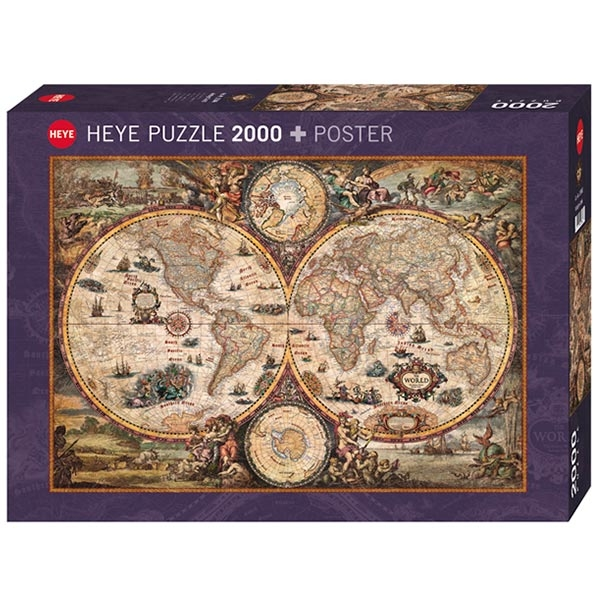Heye puzzle 2000 pcs Map Art Vintage World 29666 - ODDO igračke