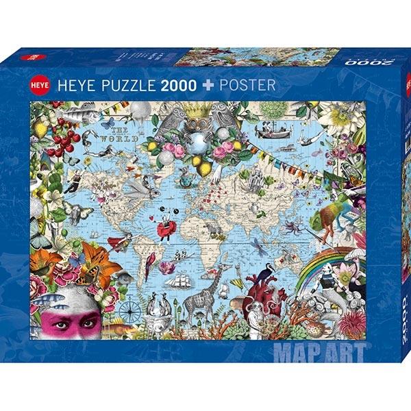 Heyepuzzle 2000 pcs Map Art Taj Otkačeni Svet 29913 - ODDO igračke
