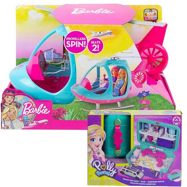 Barbie travel - veliki helihopter FWY29 + poklon set Polly Pocket Party set FRY39 - ODDO igračke