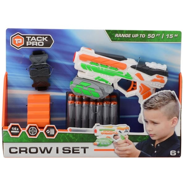 Pištolj Tack Pro Crow I 18cm sa dodacima i 14 sundjerastih metaka 31055 - ODDO igračke