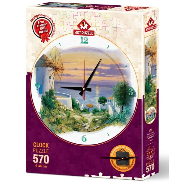 Art puzzle Clock - In the Evening in Aegean 570pcs - ODDO igračke