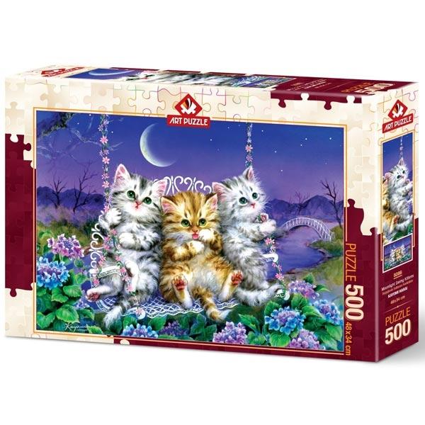 Art puzzle Kittens swinging in the Moonlight 500 pcs - ODDO igračke
