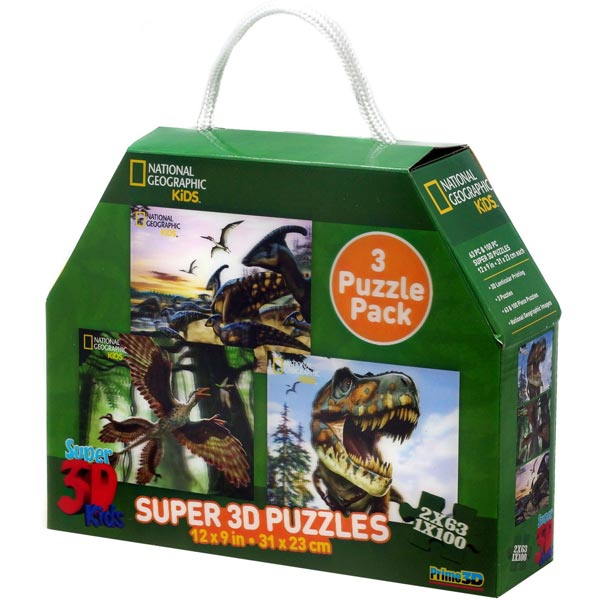 National Geographic - Dinosaurs - 3-Pack Super 3D Puzzle Prime 3D 10209 - ODDO igračke