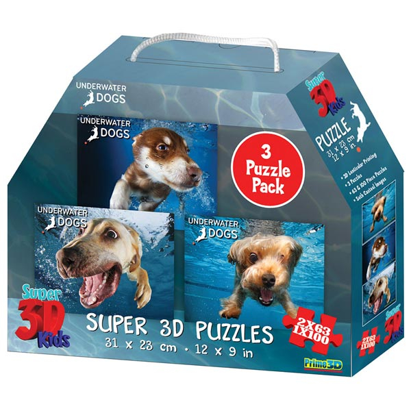 National Geographic - Underwater Dogs - 3-Pack Super 3D Puzzle Prime 3D 10210 - ODDO igračke