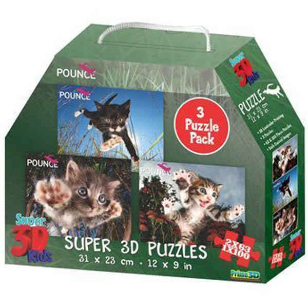 National Geographic - Pounce - 3-Pack Super 3D Puzzle Prime 3D 10211 - ODDO igračke