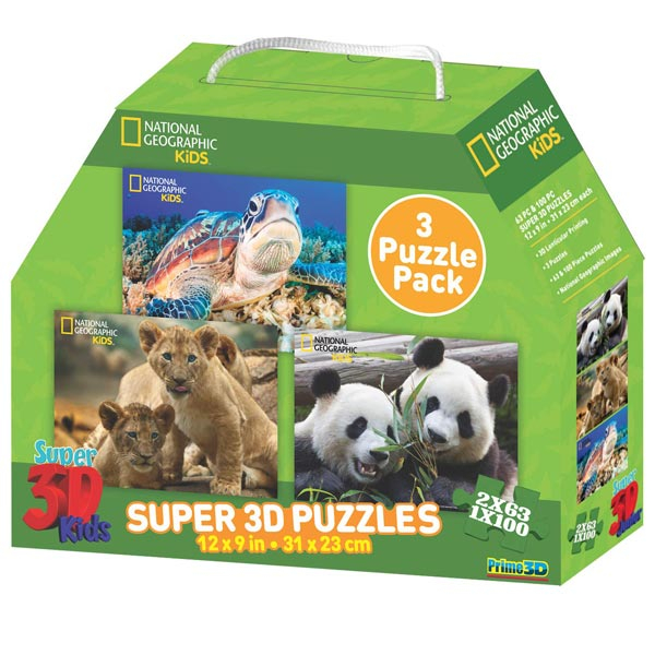 National Geographic Kids 3-Pack Super 3D Puzzle Prime 3D 10207 - ODDO igračke