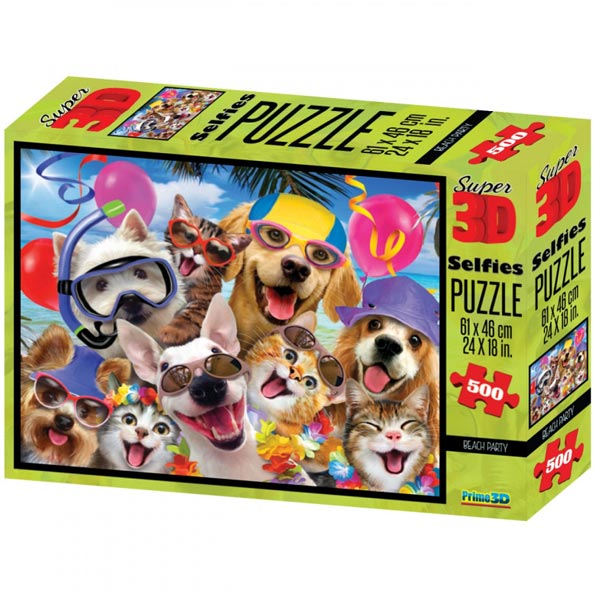 Prime 3D Super 3D puzzle Letnja zabava Selfies 500 delova 61X46cm 10103 - ODDO igračke