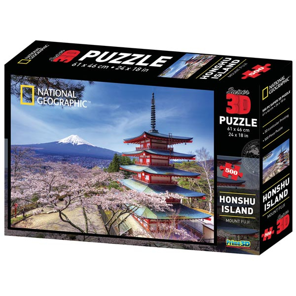 National Geographic - Honshu Island Mountain Fuji Super 3D Puzzle Prime 3D 500 delova 10079 - ODDO igračke