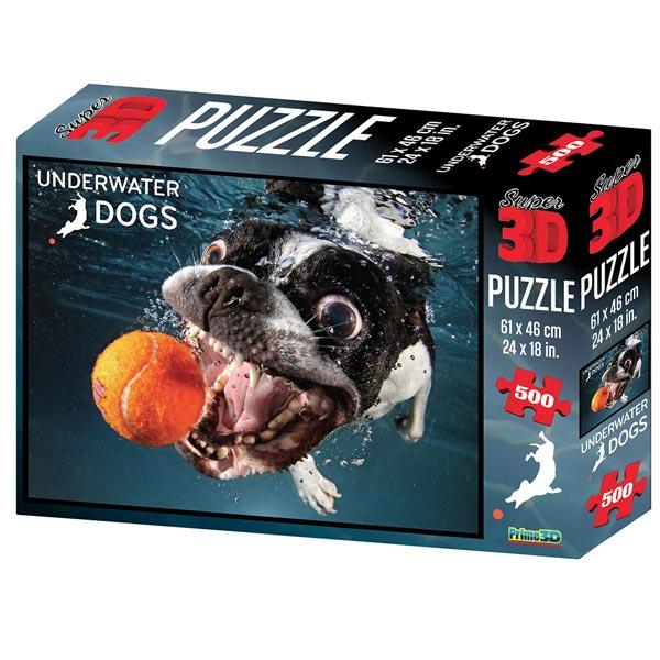 Prime 3D Super 3D puzzle Underwater Dog Pas Rocco 500 delova 61X46cm 10084 - ODDO igračke