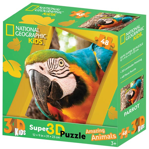 National Geographic Kids - Amazing Animals Papagaj Super 3D Puzzle Prime 3D 48 delova 13673 - ODDO igračke