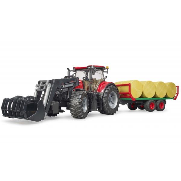 Traktor Case IH Optum 300CVX sa kašikom i prikolicom sa balama Bruder 031985 - ODDO igračke