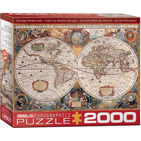 Eurographics puzzle 2000 pcs Antique Geographica World Map 8220-1997 - ODDO igračke