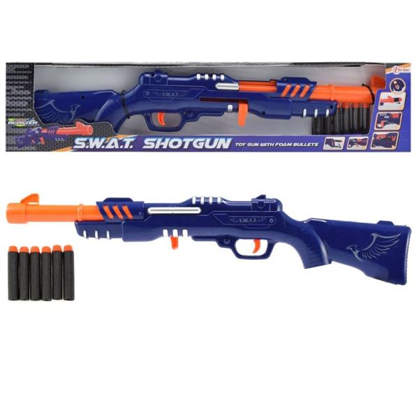 Puška sa 6 sundjerastih metaka plava 29 cm 32587B - ODDO igračke