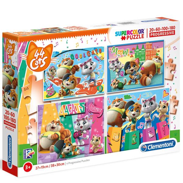 Clementoni puzzla 4 in 1 Progressive 44 Cats 21407 - ODDO igračke