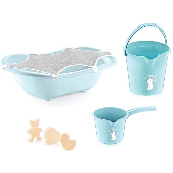 BabyJem Set za Kupanje Bebe (5 Delova) Blue (kadica, podloga, sundjer, bokal, kofica) 92-34391 - ODDO igračke