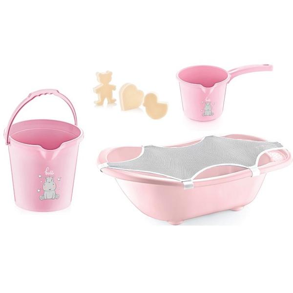 BabyJem Set za Kupanje Bebe (5 Delova) Pink (kadica, podloga, sundjer, bokal, kofica) 92-24392 - ODDO igračke