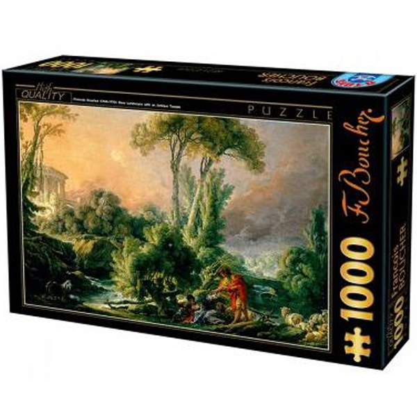 DToys puzzla 1000 pcs Francois Boucher River Landscape with an Antique Temple 07/72696-02 - ODDO igračke