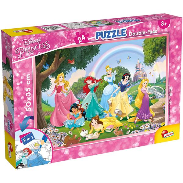 Slagalica Lisciani 24pcs Disney Princess 2u1 složi i oboji 73993 - ODDO igračke