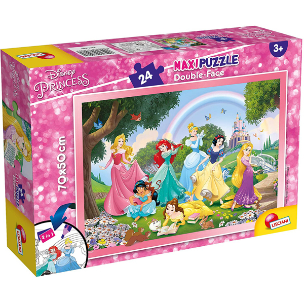 Slagalica Lisciani 24pcs Maxi Disney Princess 2u1 složi i oboji 74082 - ODDO igračke
