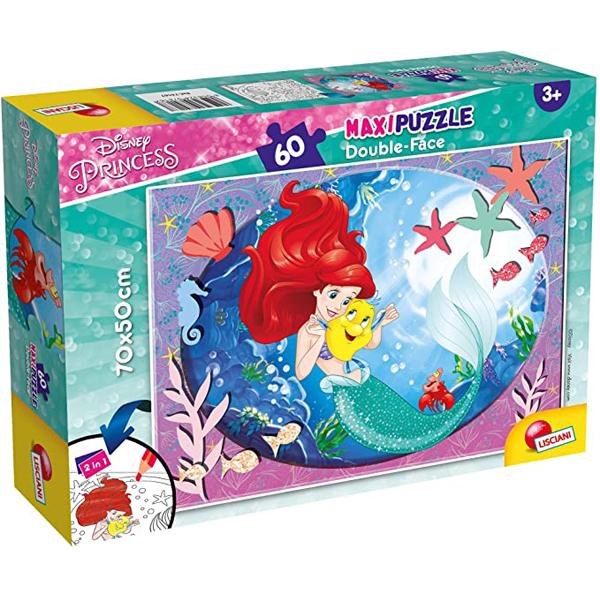 Slagalica Lisciani 60pcs Maxi Disney Mala Sirena 2u1 složi i oboji 74167 - ODDO igračke