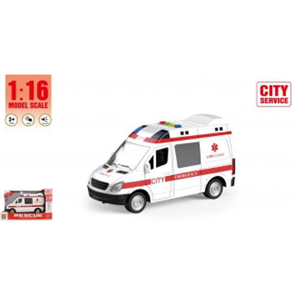 Kombi hitna pomoć sa zvukom i svetlom B/O 27,5x17x12cm WY590A (MX0181856) - ODDO igračke