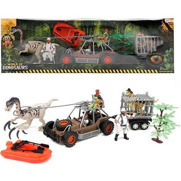 Dinosaurus set jeep+dinosaurus+čamac 37501A - ODDO igračke