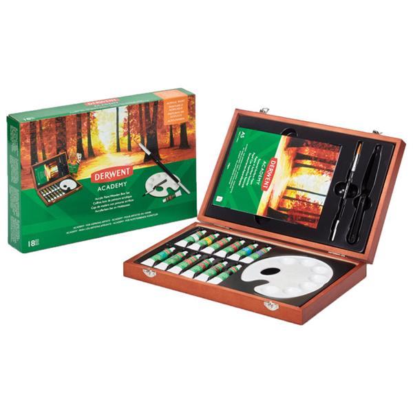 Set u drvenoj kutiji Boje akrilne 12ml 12boja+pribor Academy Derwent 2305674 - ODDO igračke