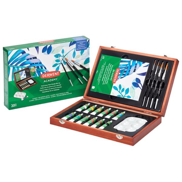 Set u drvenoj kutiji Boje Aquarelle 12ml 12boja+pribor Academy Derwent 2305673 - ODDO igračke