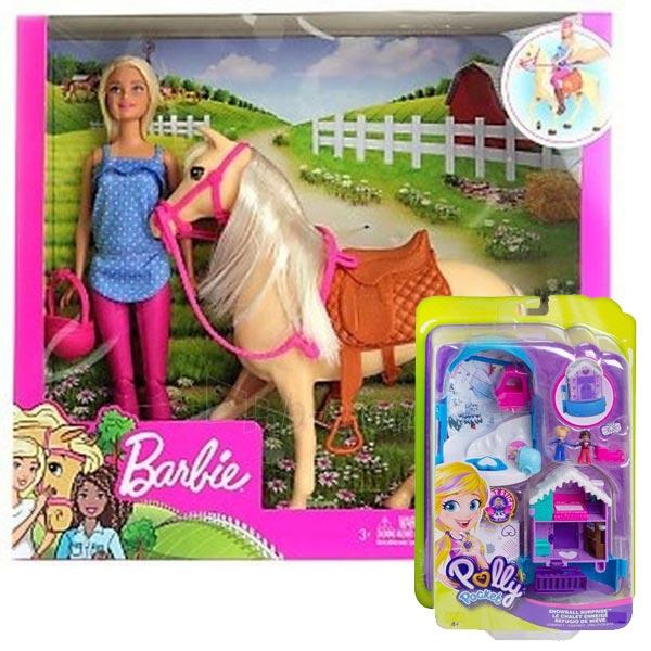 Barbie lutka set sa ponijem FXH13 + poklon set Polly Pocket Svet u džepu FRY35 - ODDO igračke