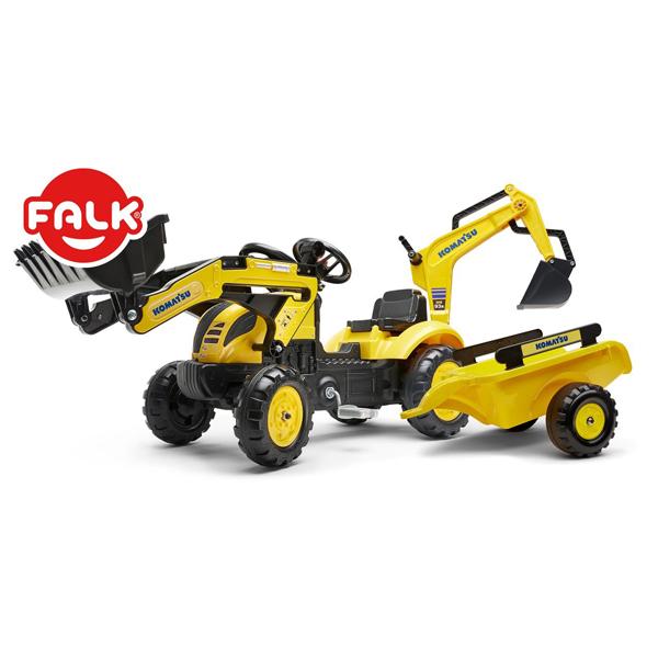 Traktor Falk na pedale Bager Rovokopač Komatsu sa prikolicom i viljuškom 2076n - ODDO igračke