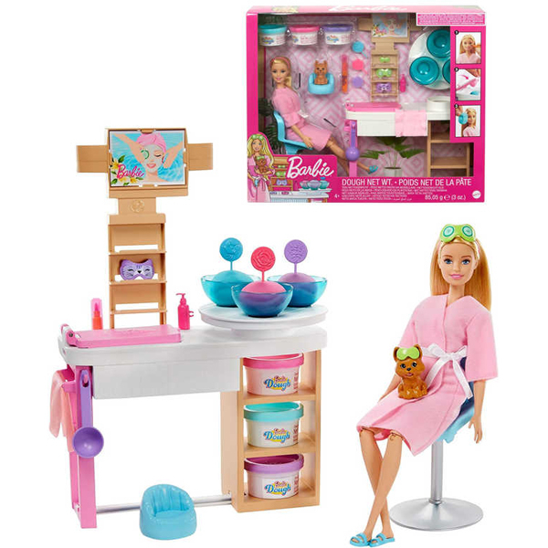 Barbie Face Mask SPA Day Playset lutka i ljubimac u SPA salonu GJR84 - ODDO igračke